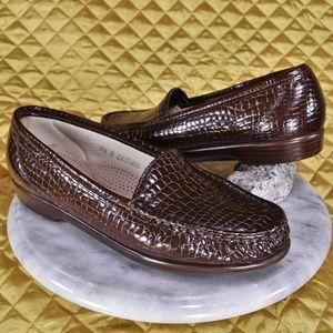 SAS Simplify Brown Crocodile Slip On Loafers